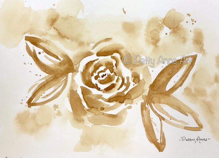 Coffee painted rose
