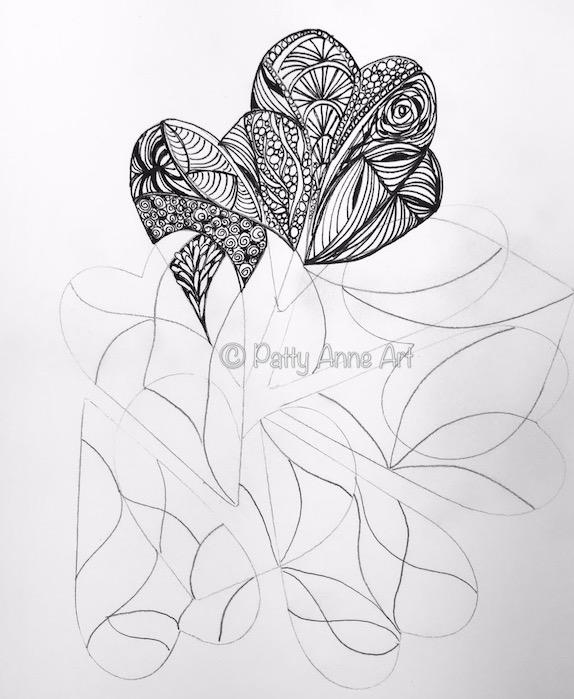 hearts ink doodle sketch in progress
