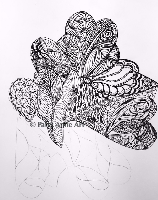 hearts ink doodle sketch in progress