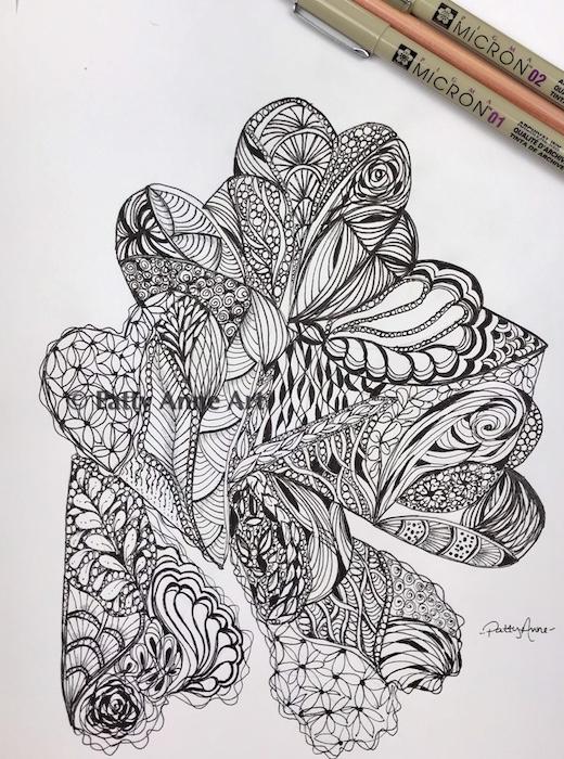 hearts ink doodle sketch