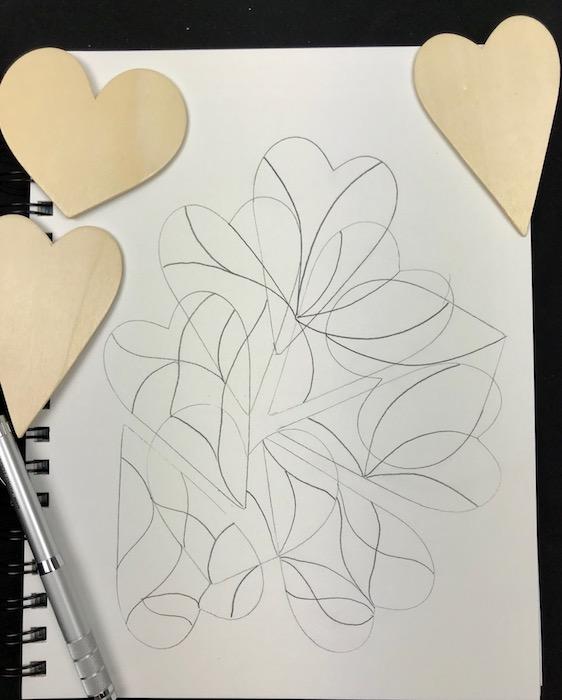 hearts sketch - pencil outline