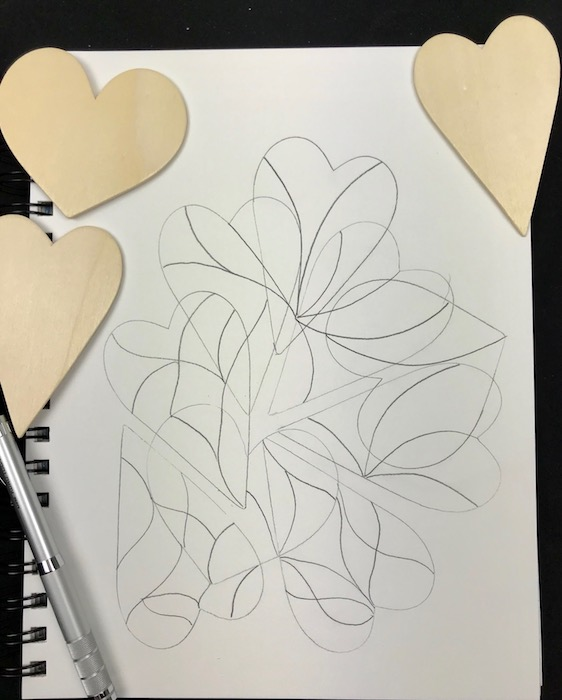 hearts sketch - pencil outline