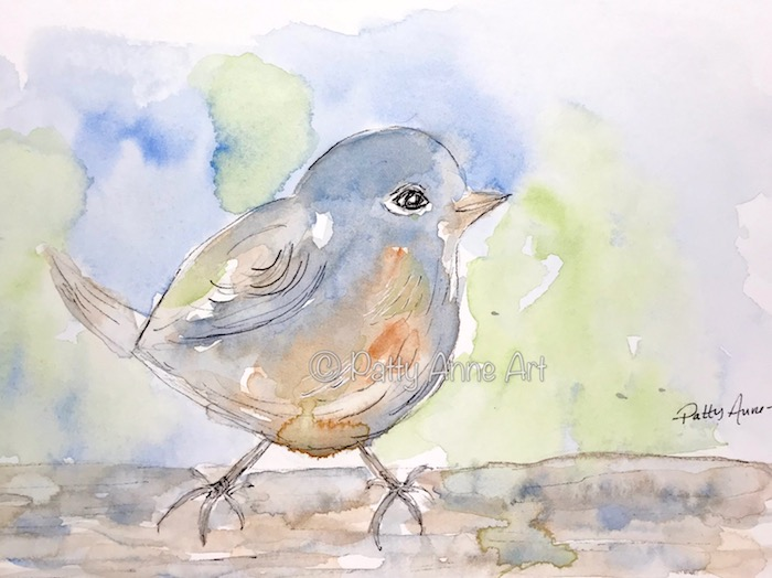 little birdie watercolor