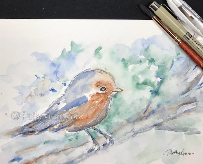 little robin watercolor