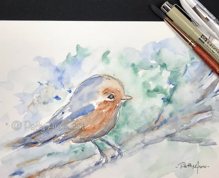 little robin watercolor