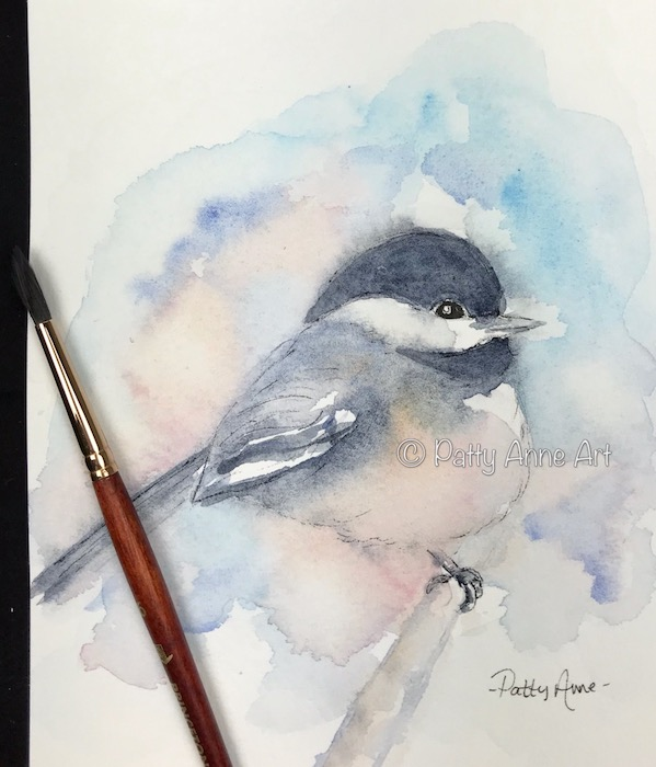 chickadee watercolor