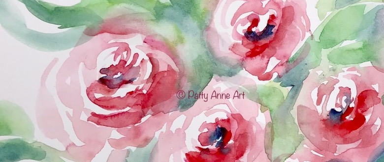 More practice painting watercolor roses