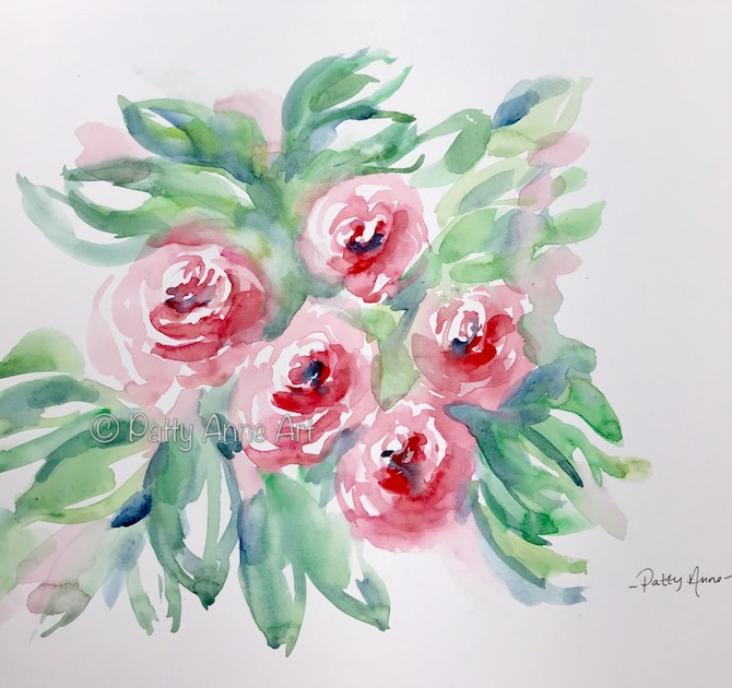 watercolor painting - roses