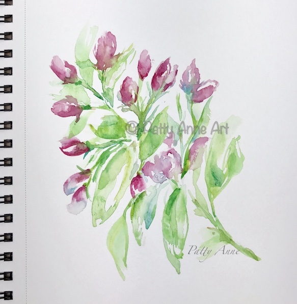 spring blooms watercolor