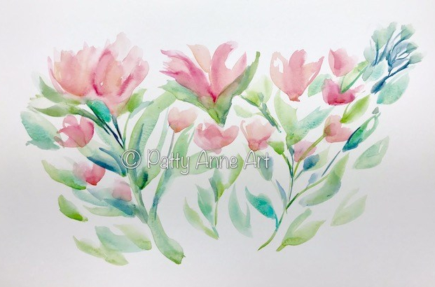 Peach floral watercolor underpainting