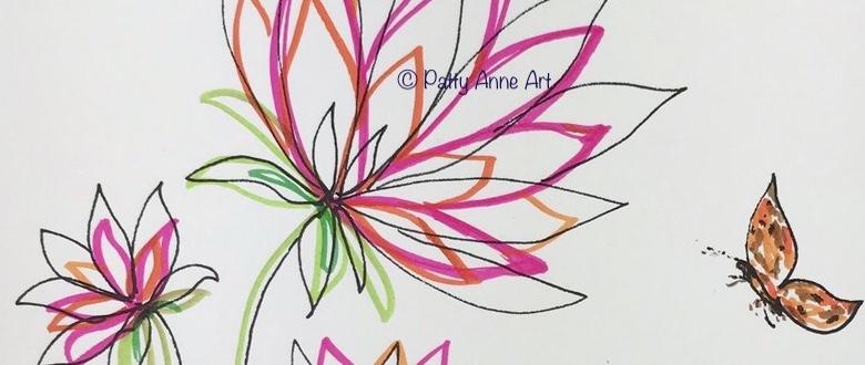 bright fun flowers sketch