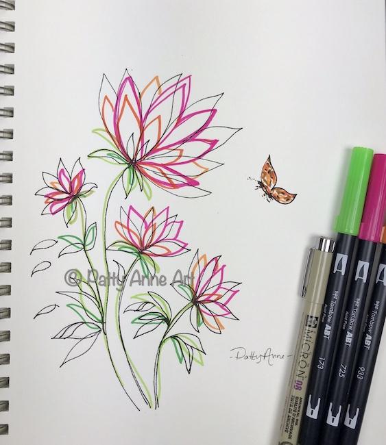 bright floral sketch