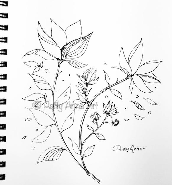 Ink sketch - floral