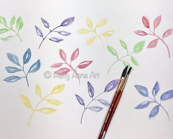 pastel leaves - watercolor painting
