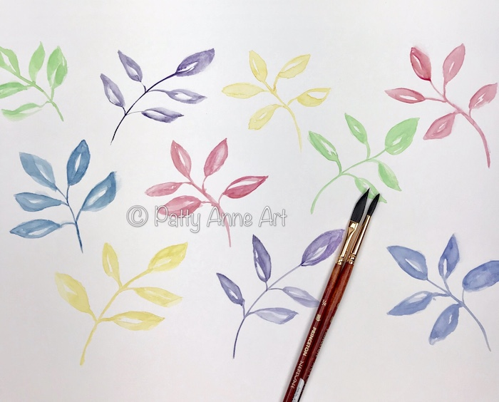 pastel leaves - watercolor painting