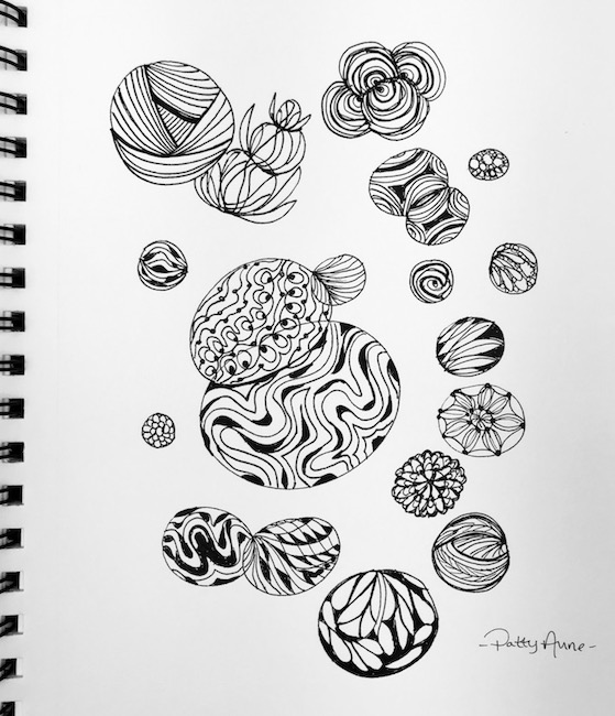 ink doodle pattern practice in circles