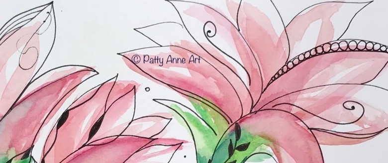 Pink Lily watercolor doodle