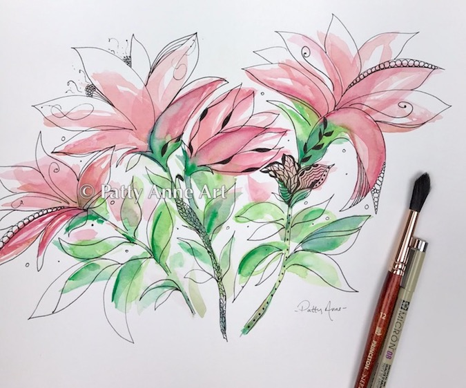 Pink Lily watercolor doodle sketch