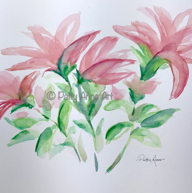 Pink Lily watercolor underpainting