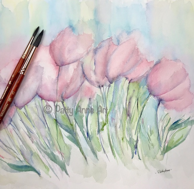 large format - abstract pink tulips