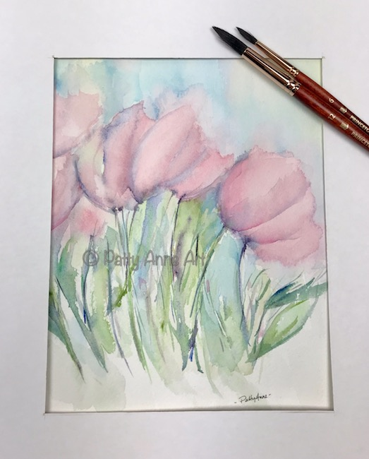abstract pink tulips matted