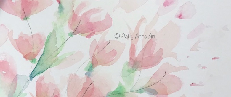 Soft floral watercolor and supplies
