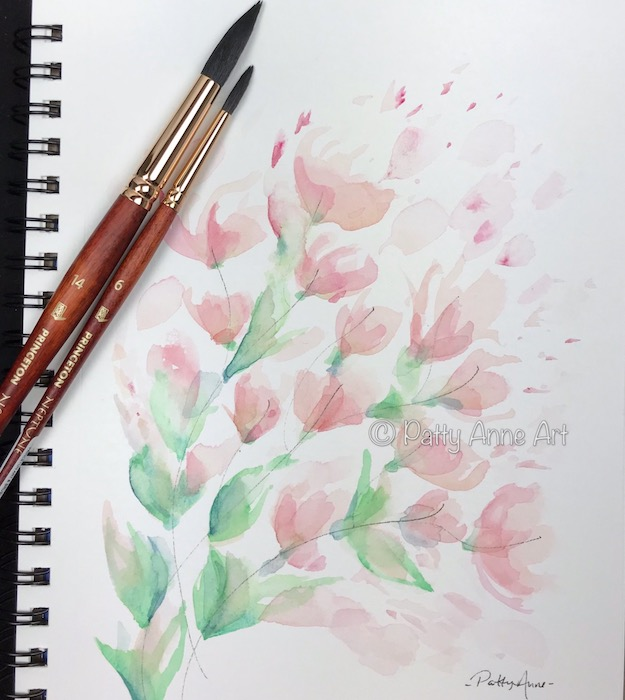 spring flowers watercolor painting