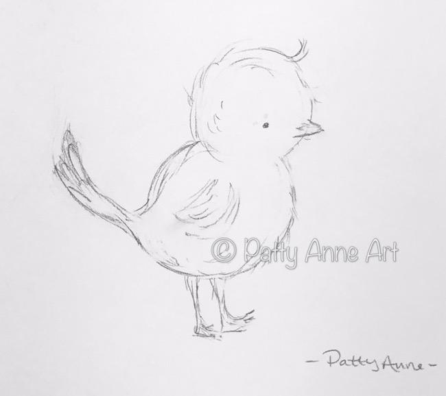sweet little chick sketch