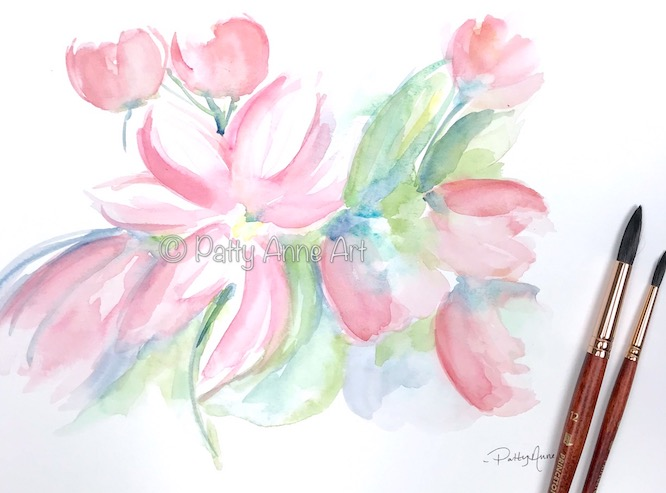 Blooming love watercolor under painting