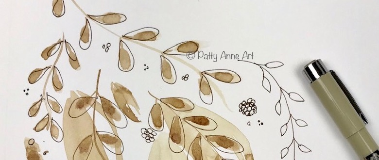 Leaves - Coffee painting & ink sketch
