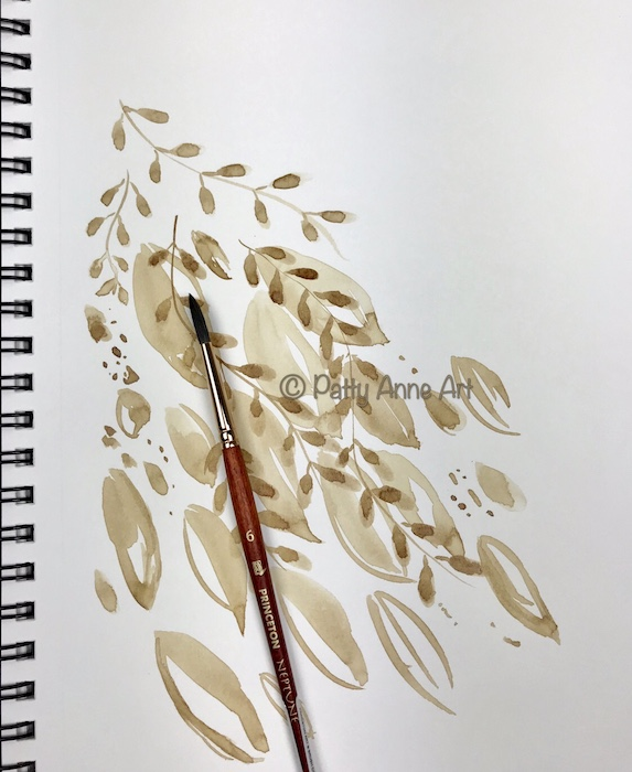 Coffee painting - leaves under painting