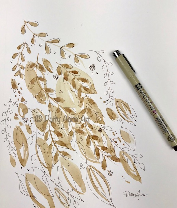 Coffee leaves - painting and ink sketch