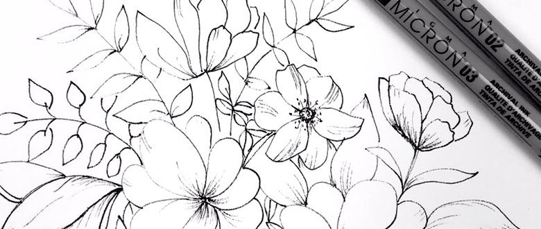 Floral ink sketching