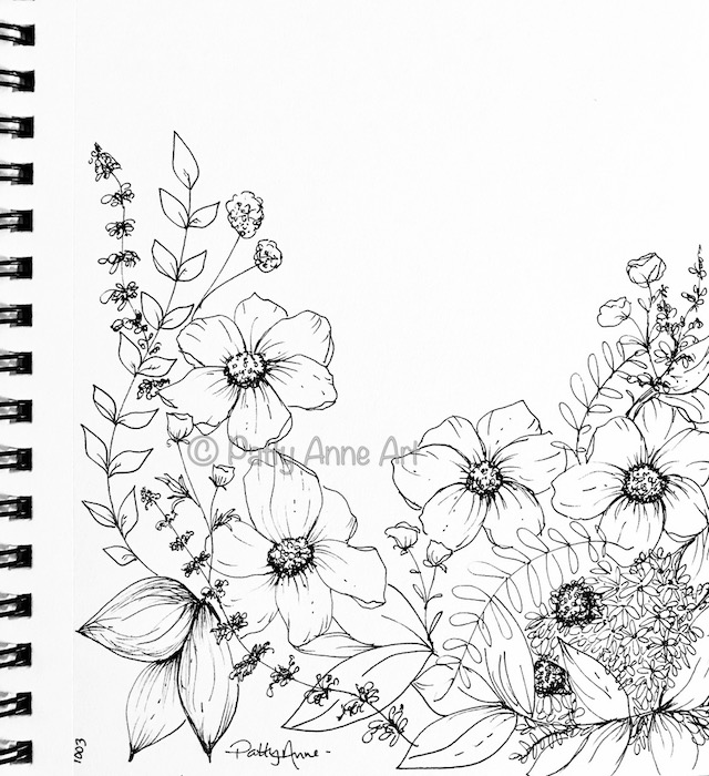 floral ink sketch