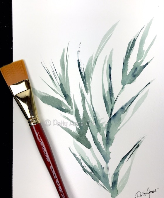 Foliage watercolor with large brush