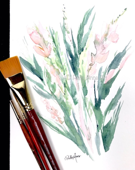 garden floral watercolor with large brush