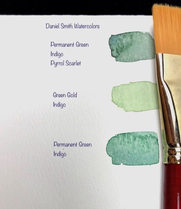green watercolor mixing