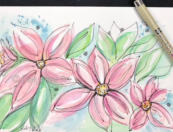 playful pink floral watercolor and ink