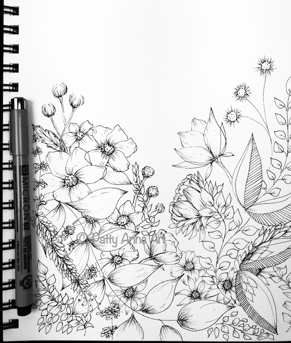 flowers and leaves ink sketch