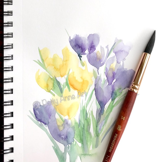 Crocus watercolor painting
