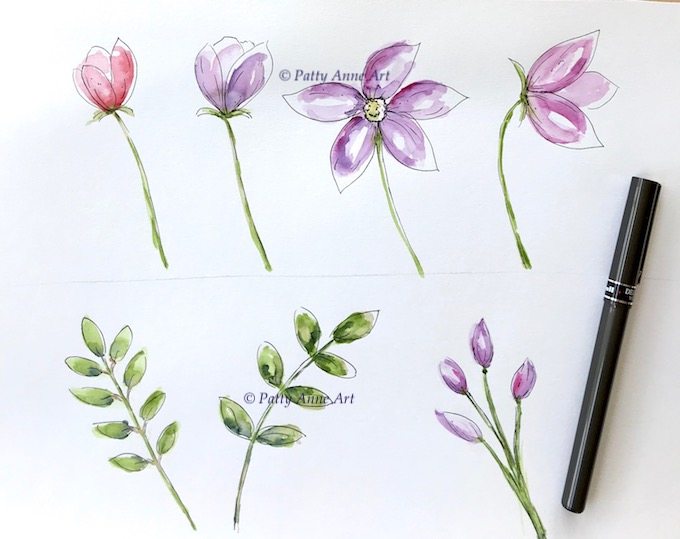 ink details added to watercolor flowers