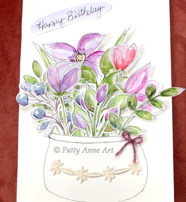 floral watercolor birthday card
