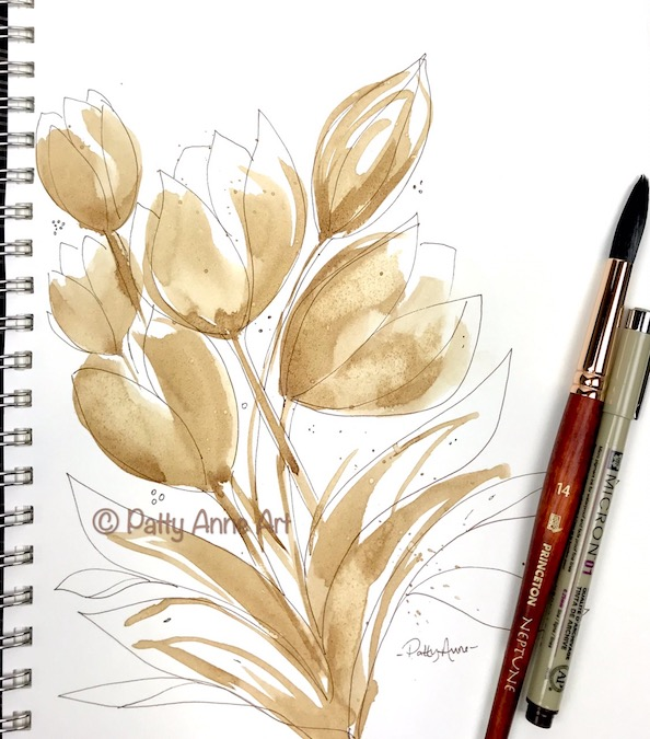 Tulips painted with coffee