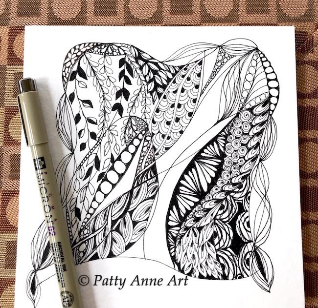 Zentangle ink sketch part 3
