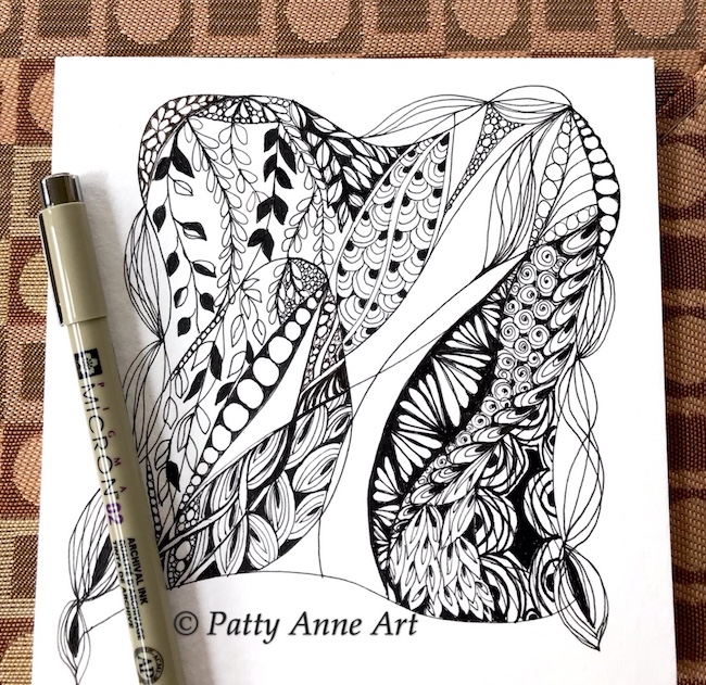 Zentangle ink sketch part 3