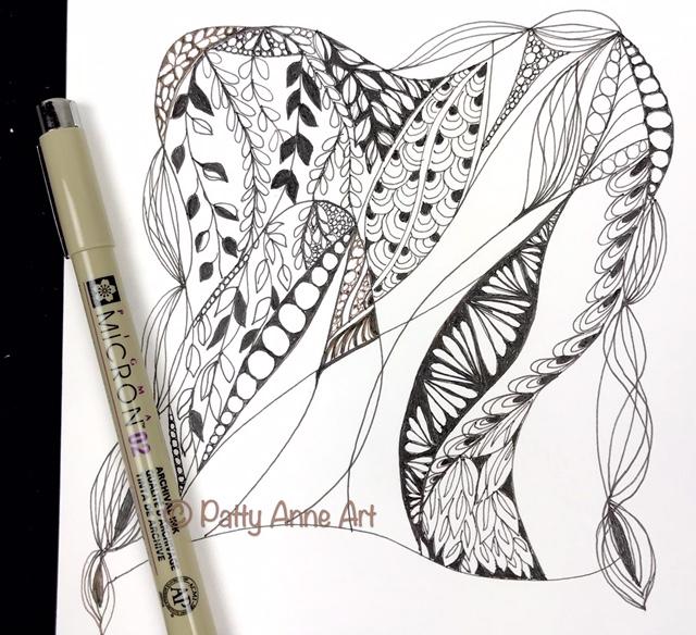 Zentangle ink sketch step 2