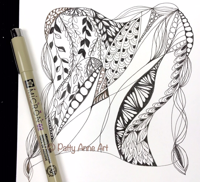 Zentangle ink sketch step 2