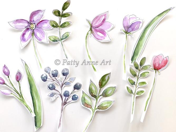 watercolor floral cut outs