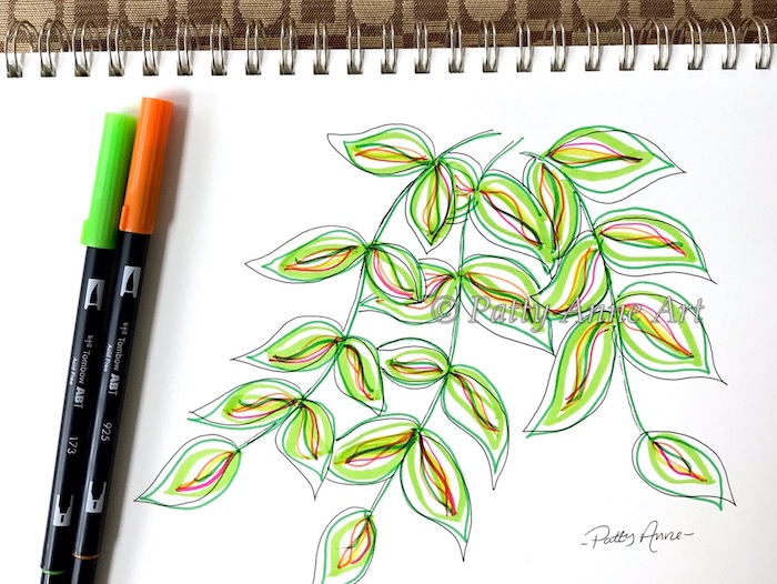 fruit stripe vines with markers and ink
