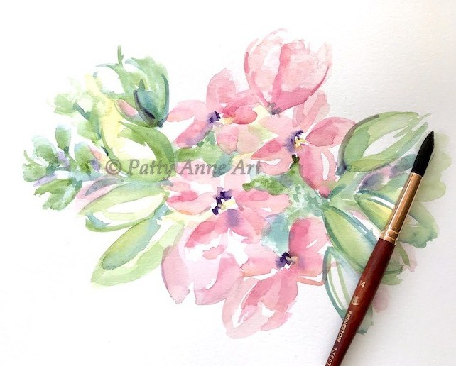 garden beauty watercolor under painting